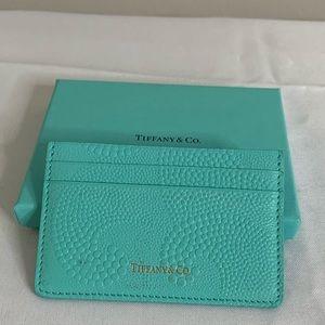 Tiffany & Co. Card Holder Wallet Wave Pond Leather